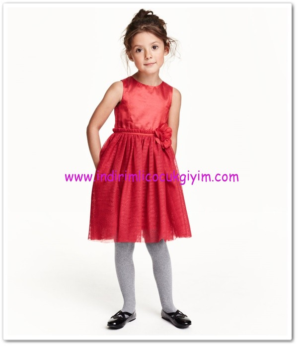 HM-kız çocuk kırmızı çiçek aplikeli kolsuz elbise-35 TL