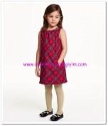 HM-kız çocuk kırmızı ekose kolsuz elbise-40 TL