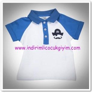 Panço erkek bebek beyaz-mavi tişört-12,50 TL