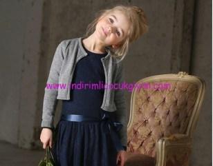 Kanz kız çocuk lacivert kuşaklı elbise