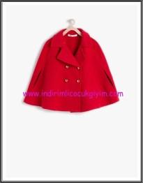 Koton kız çocuk kırmızı düğmeli panço kaban-60 TL