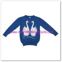 Panço kız çocuk saks mavisi kazak-29,50 TL