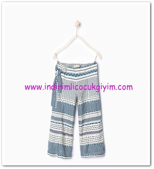 Zara kız çocuk mavi dökümlü yazlık pantolon-36 TL
