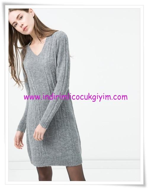 Koton V yaka gri örgü elbise-20 TL
