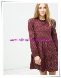 Koton bordo desenli genç kız mini elbise-20 TL
