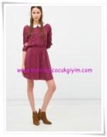 Koton genç kız bebe yaka bordo çiçekli elbise-23 TL