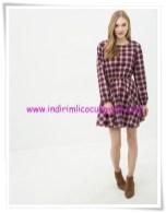 Koton lacivert kareli genç kız mini elbise-20 TL