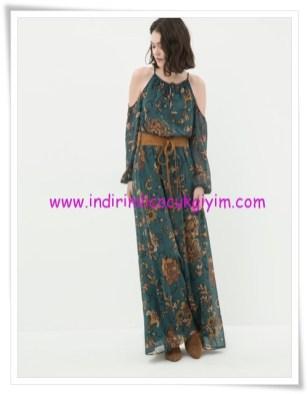 Koton omuzları açık yeşil çiçekli maxi elbise-90 TL