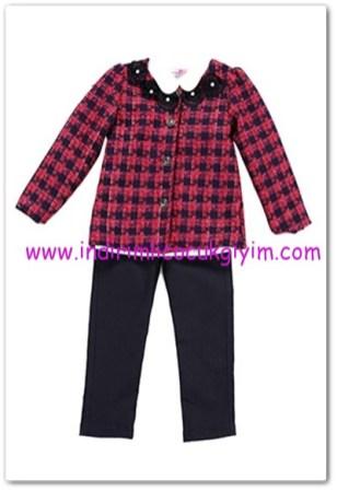 Tozlu kız çocuk lacivert gömlek-ceket-pantolon 3lü takım-70 TL