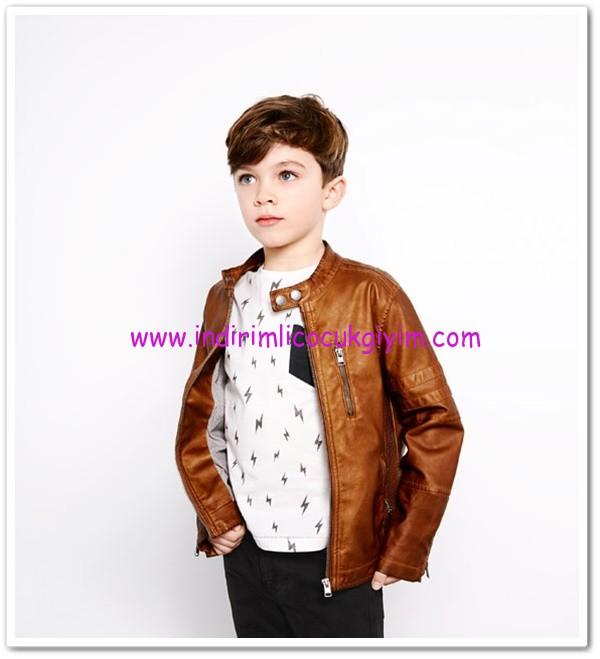 Zara erkek çocuk karamel deri ceket-150 TL