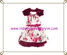 Puledro kız çocuk çiçek desenli abiye elbise-60 TL