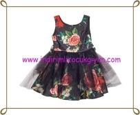 Puledro kız çocuk siyah çiçekli kız çocuk abiye-125 TL