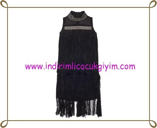 Puledro siyah boncuklu saçaklı kız çocuk abiye elbise-110 TL