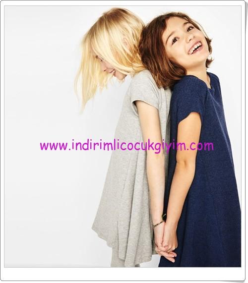 Zara girl kids ribbed collar dress-36 TL