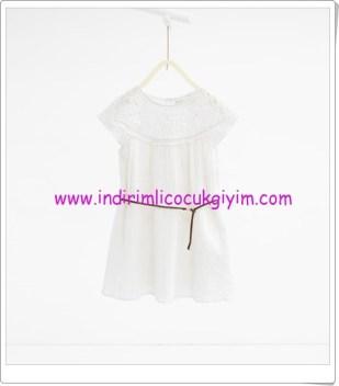 Zara kız çocuk kemerli ekru elbise-80 TL
