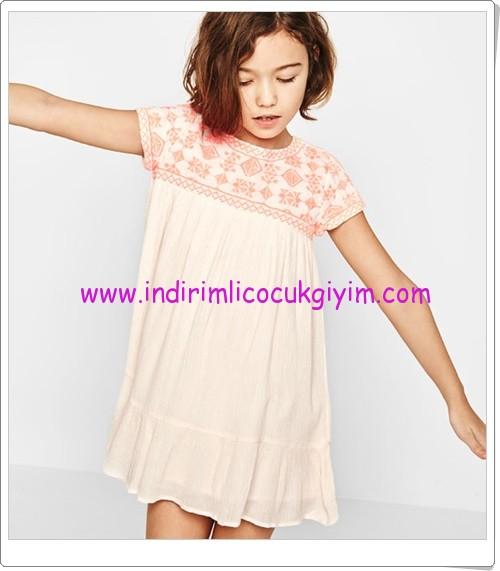 Zara kız çocuk neon pembe elbise-80 TL