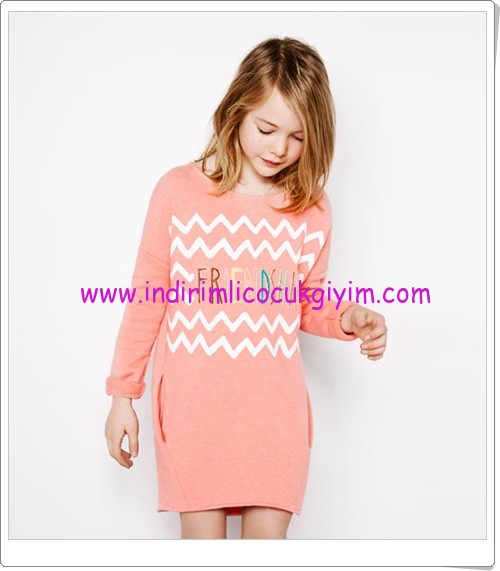 Zara kız çocuk pembe uzun kollu elbise-50 TL