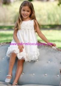 Bonprix kız çocuk çiçekli beyaz tül elbise