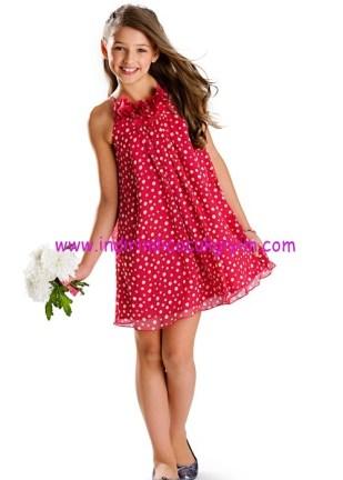 Bonprix kız çocuk kırmızı puantiyeli şifon elbise