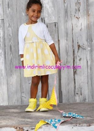 Bonprix sarı puantiyeli kemerli bolerolu kız çocuk elbise