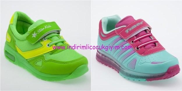 Yeşil Kundura renkli çocuk spor ayakkabıları