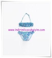 Zara kız çocuk mavi fırfırlı çiçekli bikini-50 TL