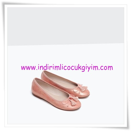 Zara kız çocuk parlak pembe balerin babet-86 TL