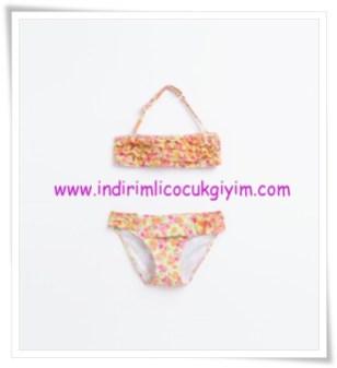 Zara kız çocuk turuncu çiçek desenli bikini-50 TL