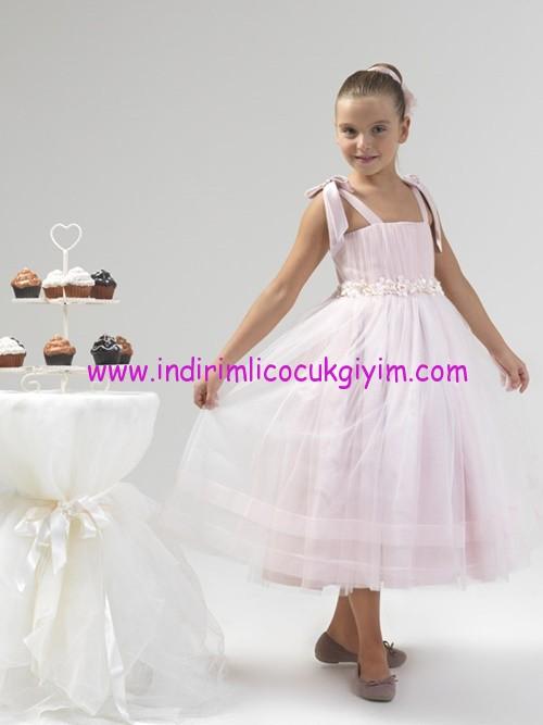 Little Fariy kız çocuk pembe abiye elbise