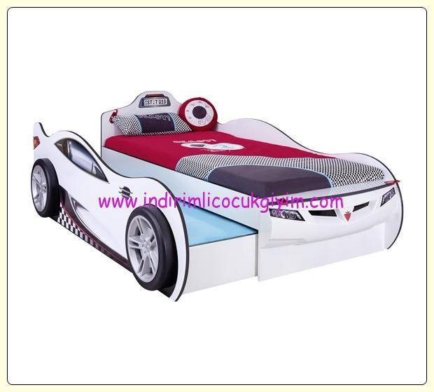 Çilek Mobilya arkadaş yataklı beyaz araba karyola