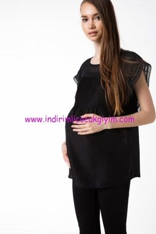 DeFacto fırfır detaylı siyah hamile bluz
