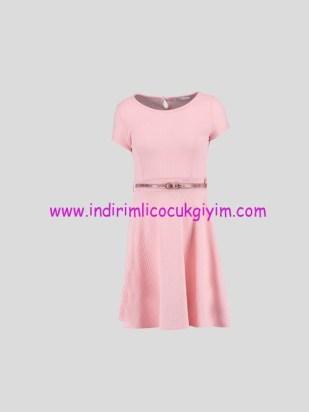 LCW genç kız pembe kemerli elbise