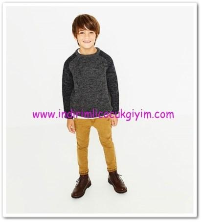 Zara koyu gri kontrast detaylı erkek çcouk kazak