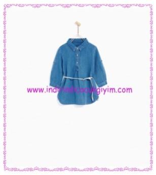 Zara kız bebek kemerli denim elbise-70 TL