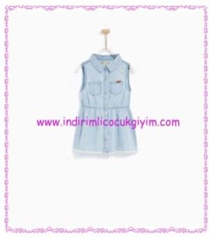 Zara kız bebek kolsuz denim elbise-70 TL