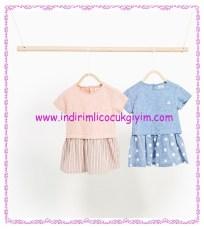 Zara kız bebek kontrast elbise modelleri-60 TL
