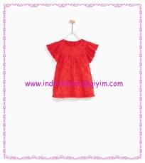 Zara kız bebek volanlı işlemeli mercan elbise-90 TL