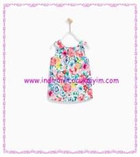 zara fuşya desenli kız bebek elbise-100 TL