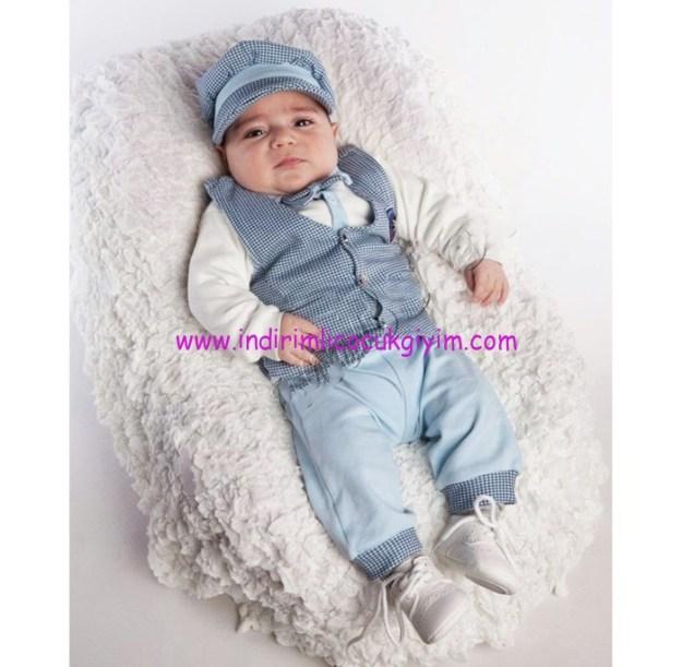 armalı yelekli mavi 4 parça erkek bebek takımı