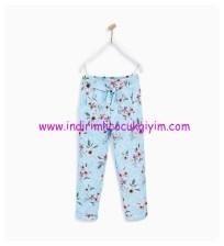zara kız çocuk mavi desenli culottes pantolon