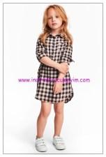 hm kız çocuk kareli gömlek elbise
