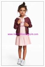 hm kapüşonlu pembe kız çocuk elbise