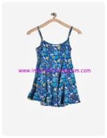 koton kız çocuk askılı desenli elbise