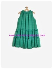 koton kız çocuk fırfırlı yeşil elbise