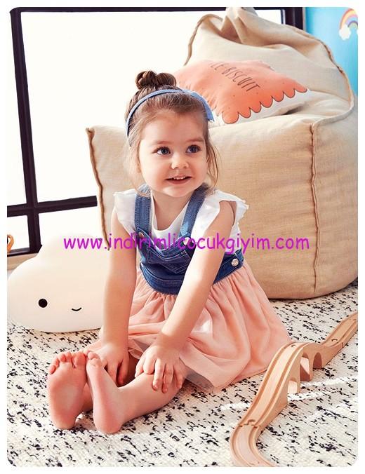 koton kız çocuk tül detaylı elbise