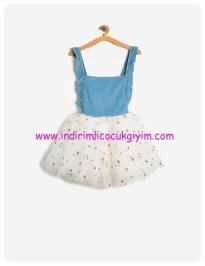 koton kız çocuk tütülü jean elbise