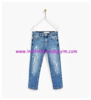 zara parıltılı aplikeli kız çocuk kot pantolon
