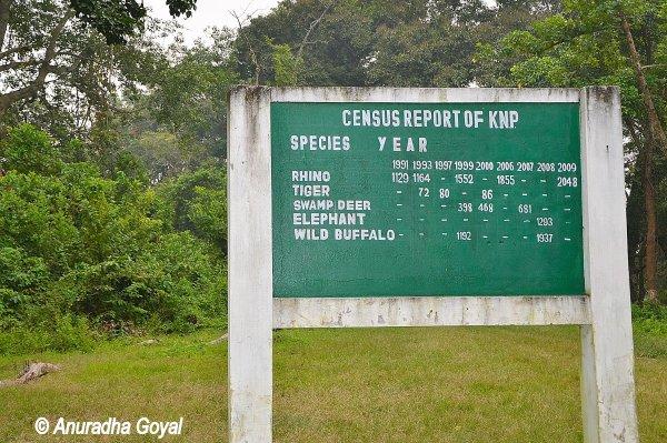 काजीरंगा राष्ट्रीय उद्यान की पशु संख्या