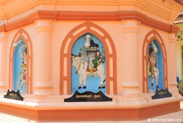 अष्ट दिगपाल - नागेशी मंदिर के दीपस्तंभ पर अंकित