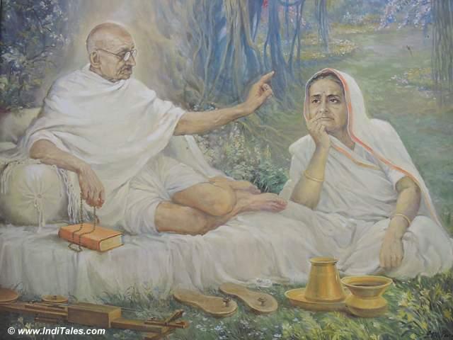 महात्मा गाँधी और कस्तूरबा गाँधी - आगा खान महल - पुणे